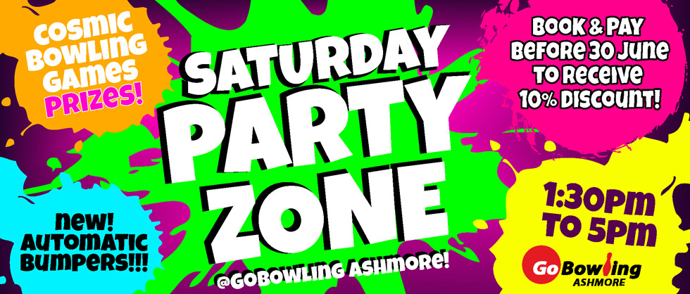 Come along to our NEW PARTY ZONE! Saturdays 1:30 - 5pm.