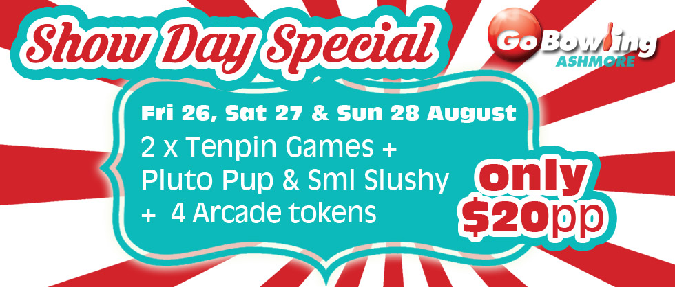 2 games of tenpin + food + tokens for only $20